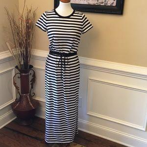 Michael Kors Striped Drawstring Waist Maxi Dress